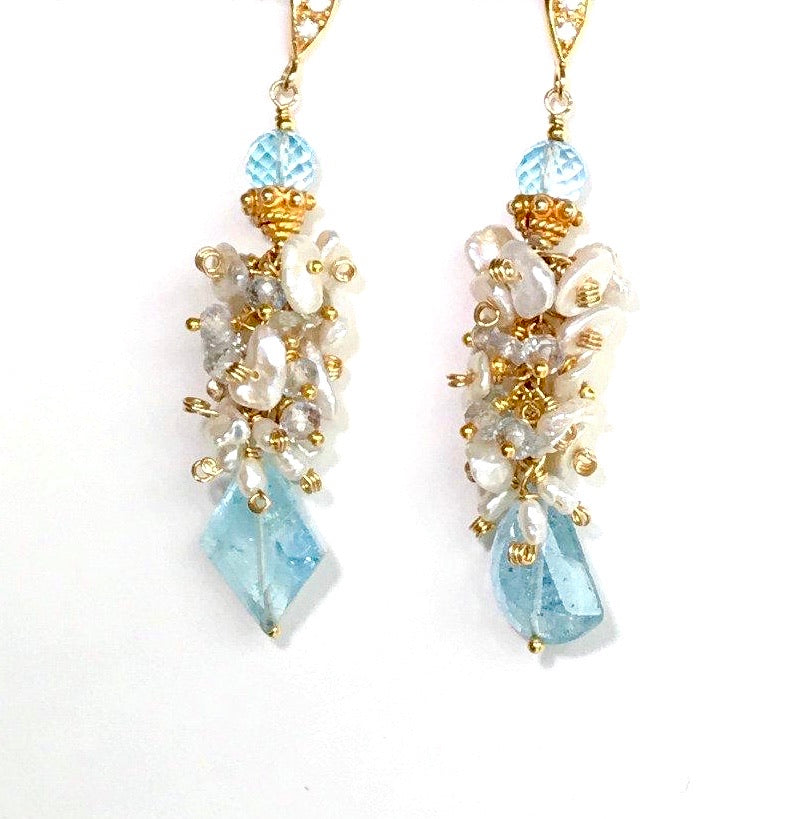Keishi Pearl Blue Aquamarine Gemstone Cluster Earrings - doolittlejewelry