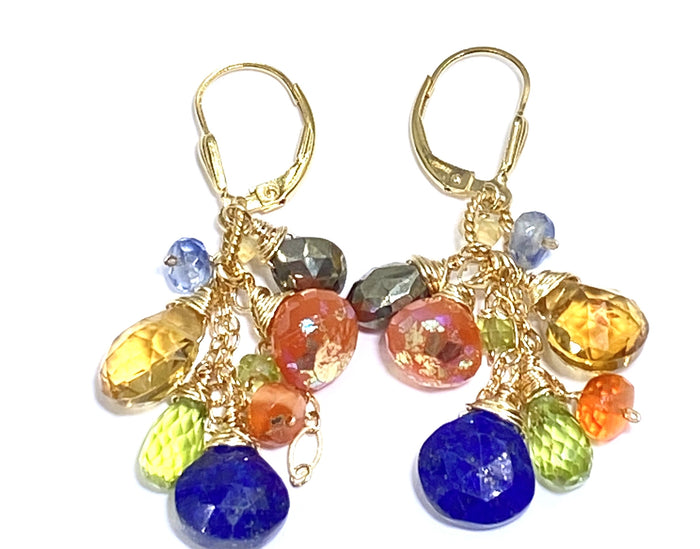 Colorful Gemstone Gold Dangle Earrings Citrine Blue Lapis Carnelian