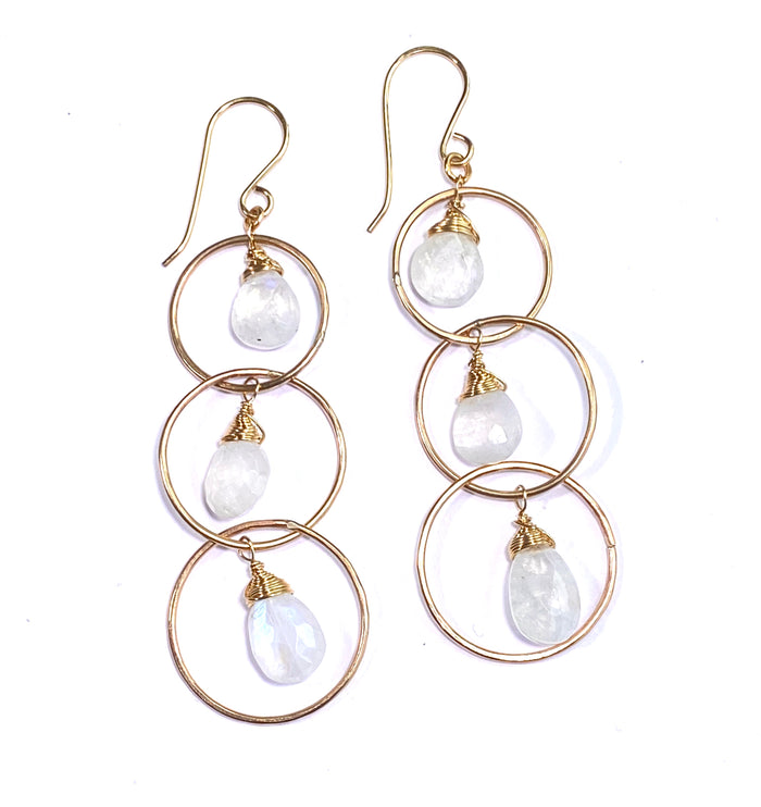 Rainbow Moonstone 14 kt Gold Fill Triple Hoop Earrings - doolittlejewelry