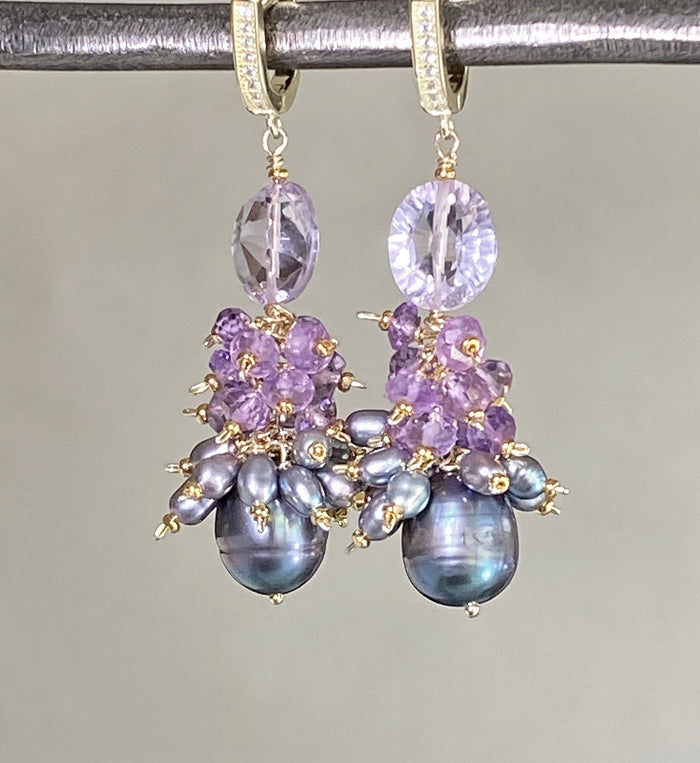 Amethyst Cluster Peacock Baroque Pearl Earrings Gold
