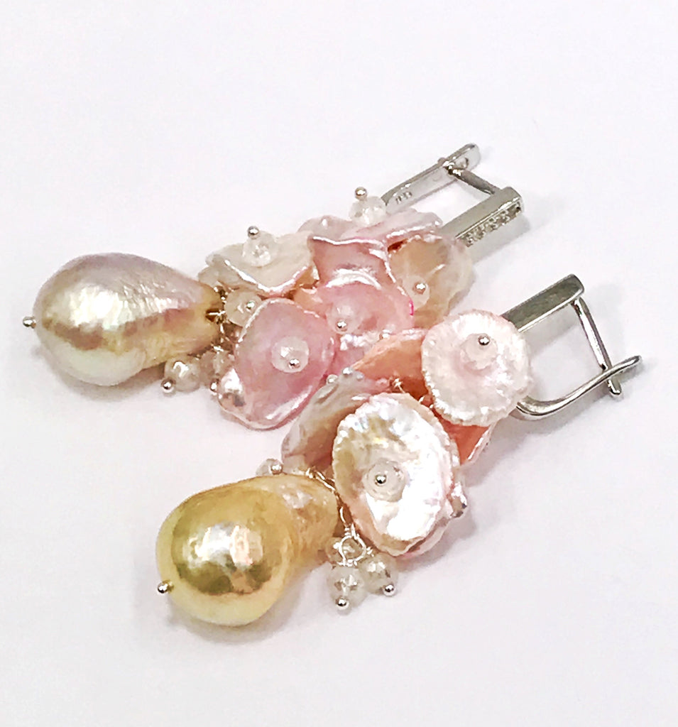Blush Keishi Pearl Cluster Wedding Earrings Sterling Silver