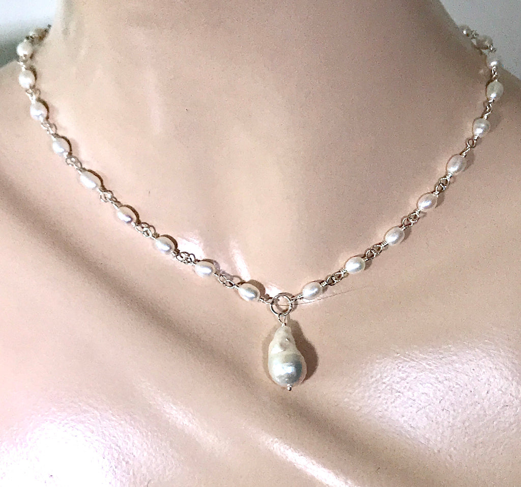 Dainty Baroque Pearl Necklace Wire Wrapped Rosary Style in Sterling Silver - doolittlejewelry