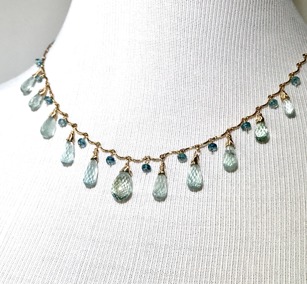 Aquamarine Dangle Necklace Gold Filled - doolittlejewelry