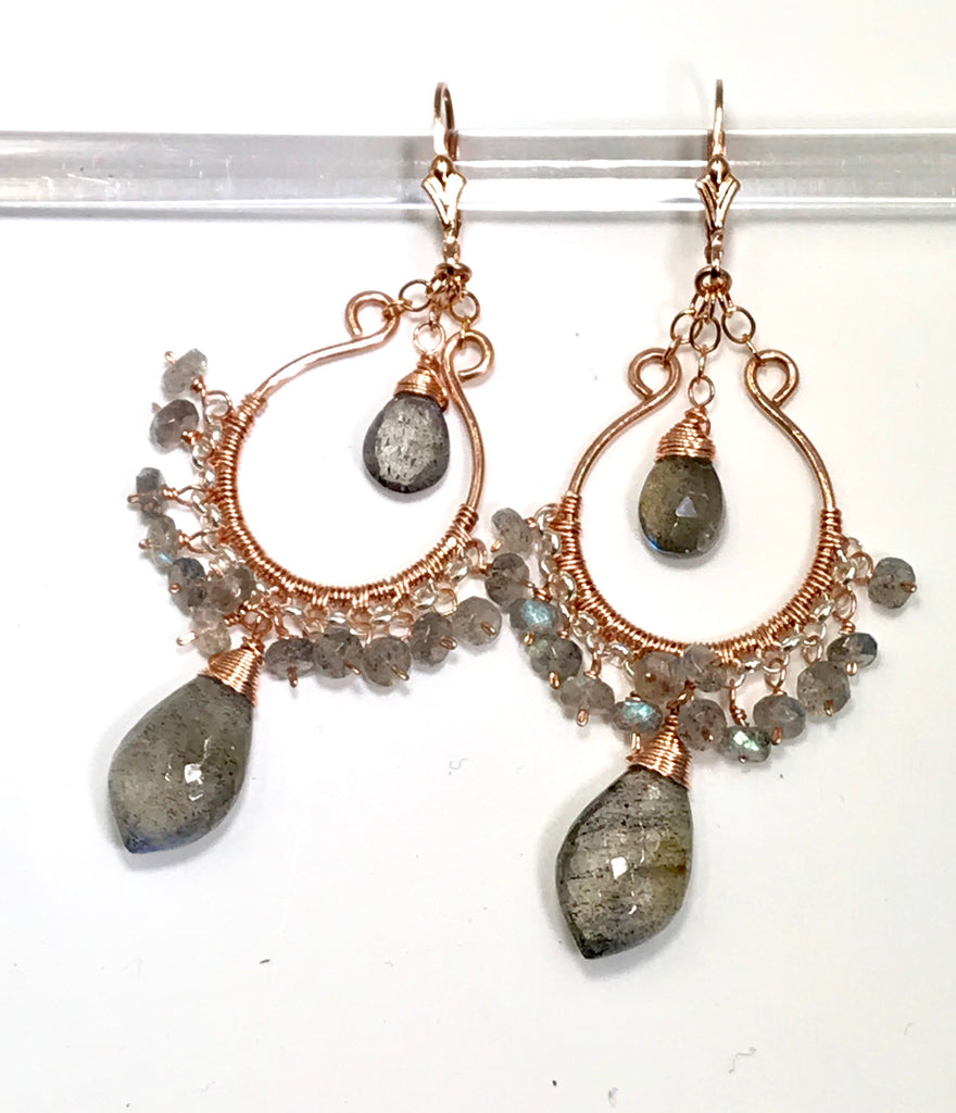 Rose Gold Labradorite Hoop Earrings - doolittlejewelry