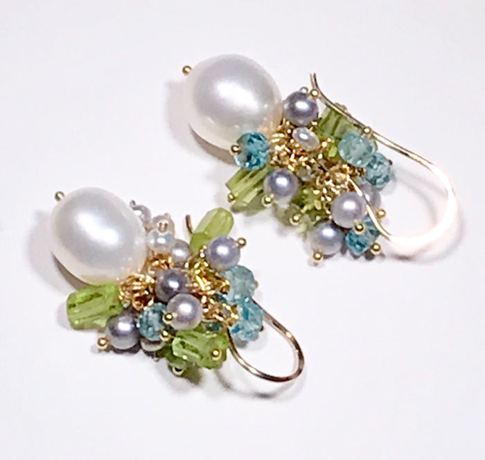 Peridot Pearl Cluster Earrings Blue Zircon - doolittlejewelry