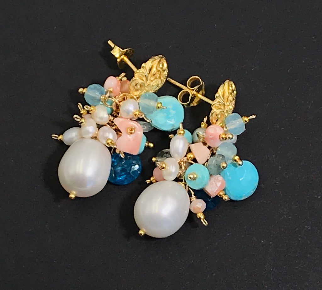 Turquoise Coral Pearl Cluster Gold Post Earrings Multi-Gemstone - doolittlejewelry