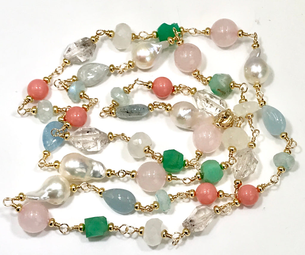 Multi Gemstone Pastel Long Necklace with Herkimer Diamond Aquamarine Gold - doolittlejewelry