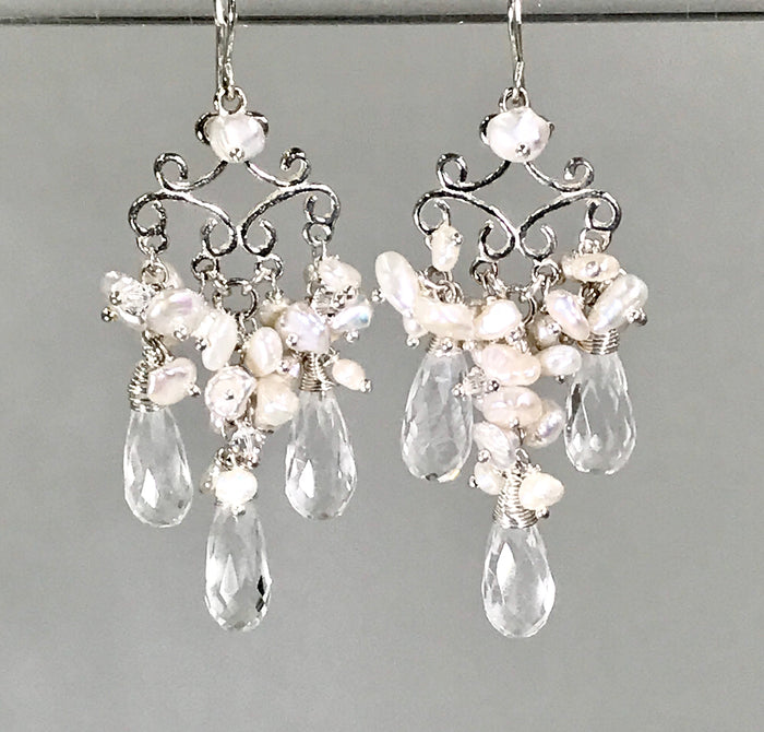 Pearl Wedding Chandelier Bridal Earrings - doolittlejewelry