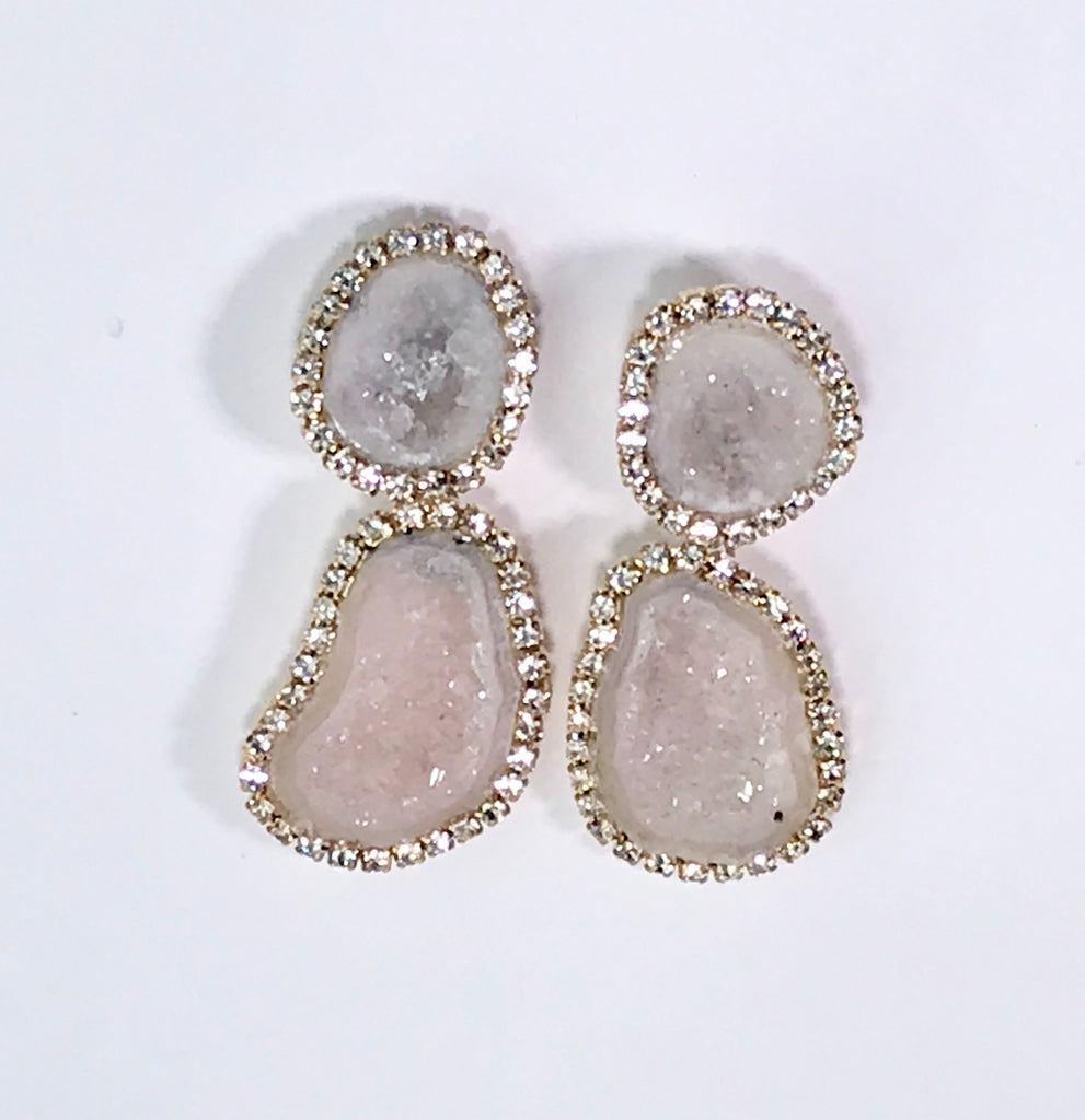 Blush Ivory Double Geode Earrings Diamond Bezel Style Tabasco Geodes - doolittlejewelry