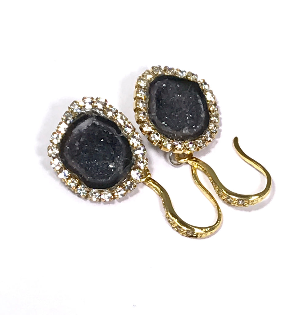 Black Tabasco Geode Dangle Earrings - doolittlejewelry