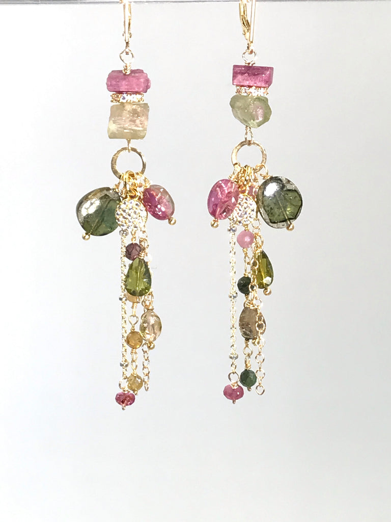 Watermelon Tourmaline Long Gold Boho Dangle Earrings - doolittlejewelry