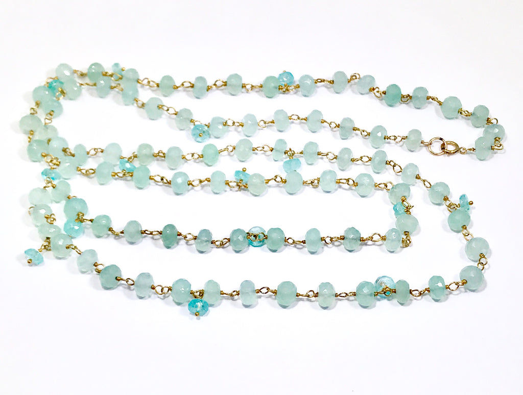 Aqua Chalcedony Long Necklace Gold Layering Rosary Style - doolittlejewelry