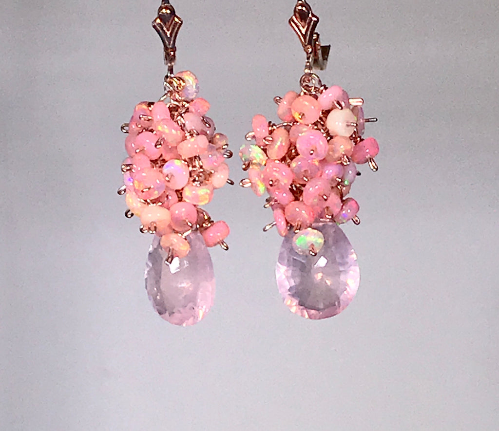Pink Blush Opal Cluster Earrings Rose Quartz Concave Cut Briolettes - doolittlejewelry