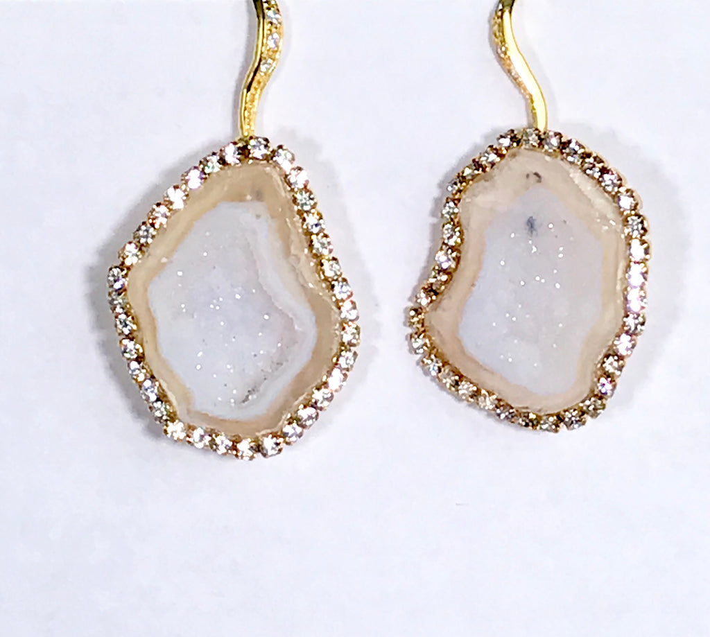 White Ivory Beige Tabasco Geode Wedding Earrings Diamond Style - doolittlejewelry