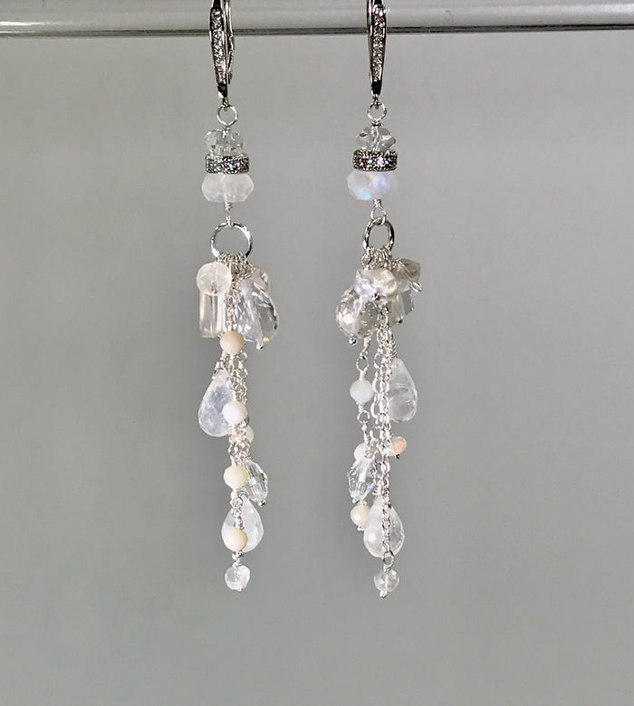 Crystal Quartz Long Boho Bridal Earrings Moonstone Sterling Silver - doolittlejewelry