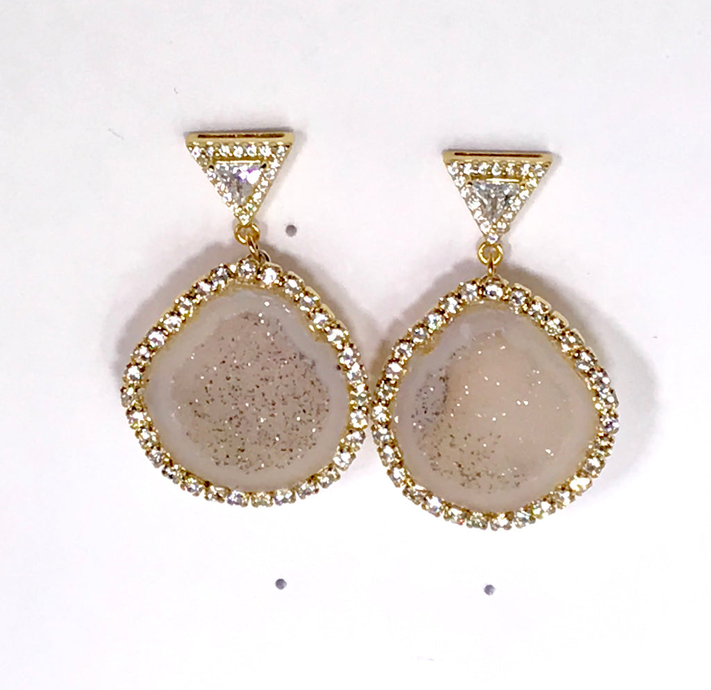 Ivory Tabasco Geode Earrings Diamond Look Swarovski Crystal - doolittlejewelry