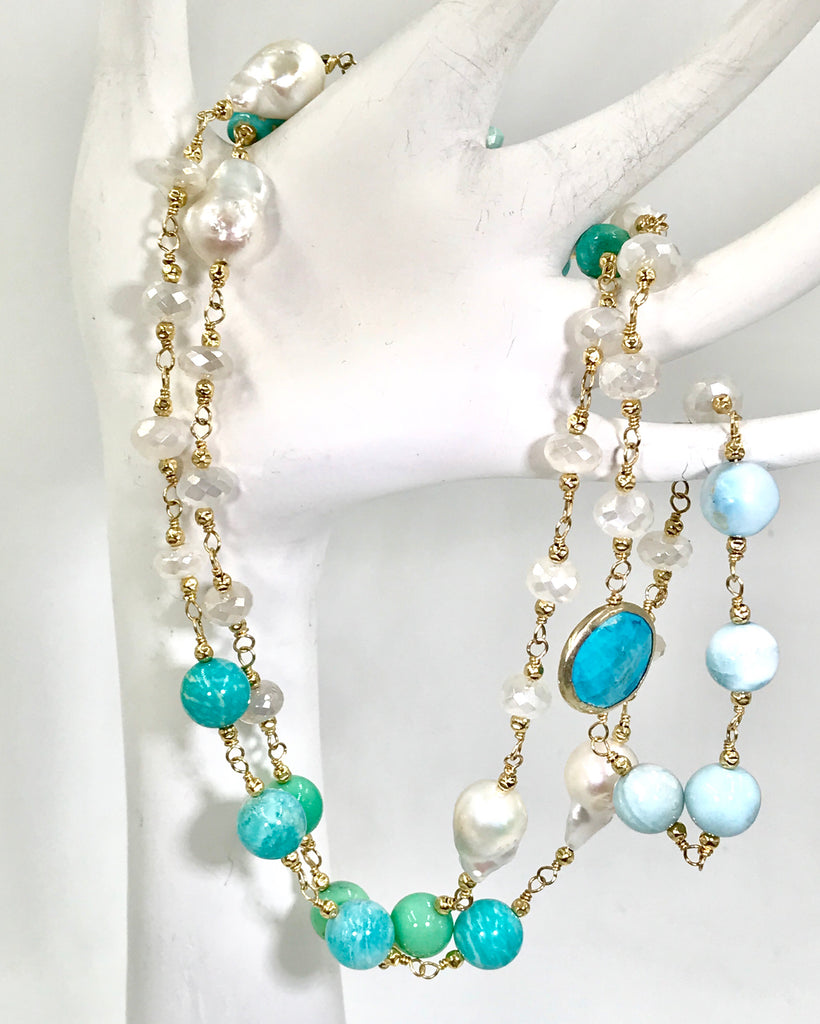 Long Multi Gemstone Pearl Necklace Larimar Sleeping Beauty Turquoise Gold Fill - doolittlejewelry