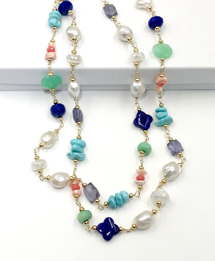 Multi Gemstone Pearl Long Gold Necklace Coral Lapis Chrysoprase - doolittlejewelry