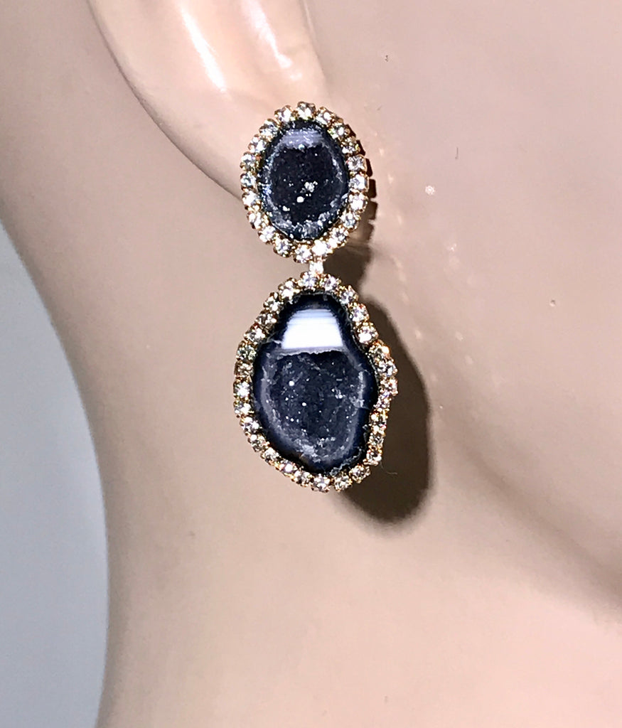 Black and White Tabasco Geode Earrings Double Dangle RARE - doolittlejewelry