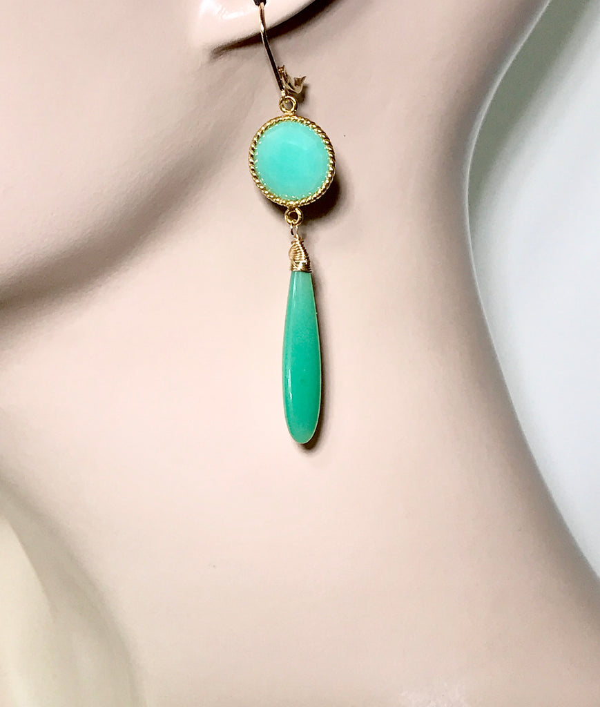 Long Green Drop Earrings Chrysoprase Chalcedony Connectors - doolittlejewelry