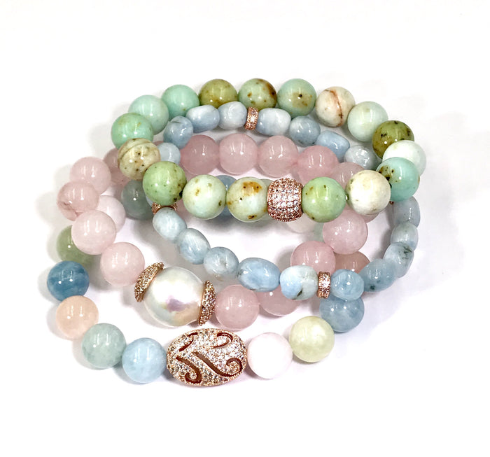 Beaded Bracelet Stack Set of 4 Pastel Gemstone Aquamarine Rose Gold - doolittlejewelry