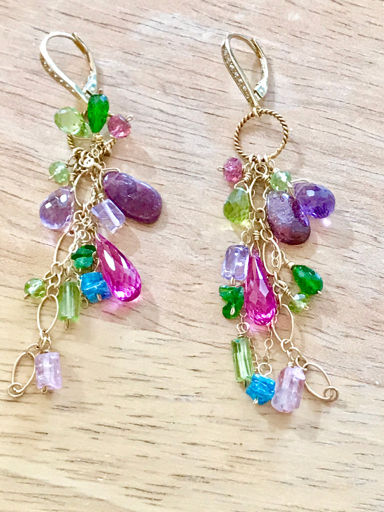 Multi Gemstone Dangle Earrings Tourmaline Peridot Gold Fill - doolittlejewelry