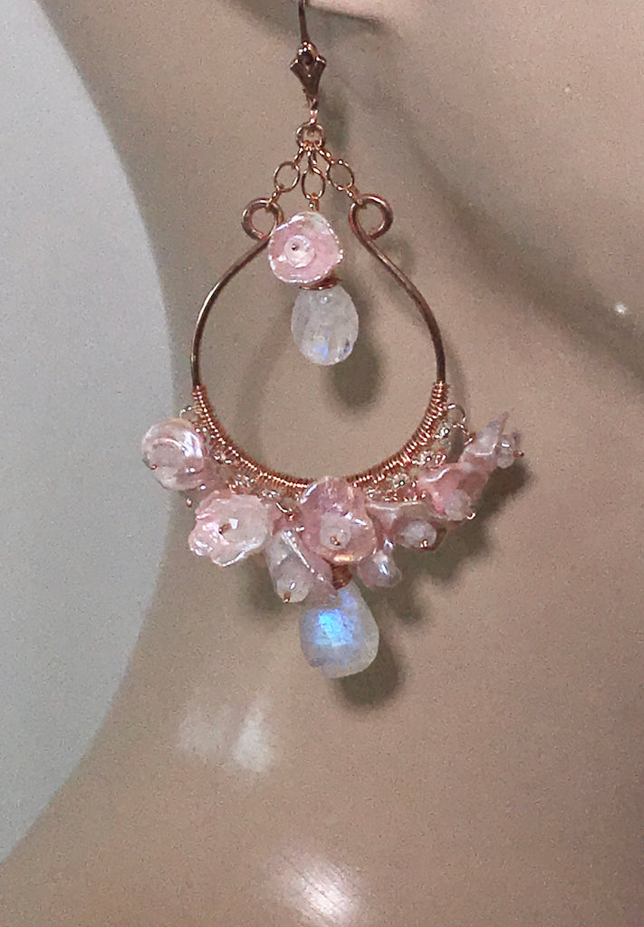 Rose Gold Hoop Earrings with Blush Keishi Pearls and Moonstones - doolittlejewelry