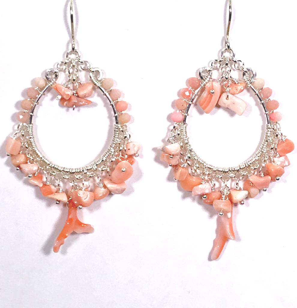 Coral Hoop Earrings Sterling Silver Branch Coral - doolittlejewelry