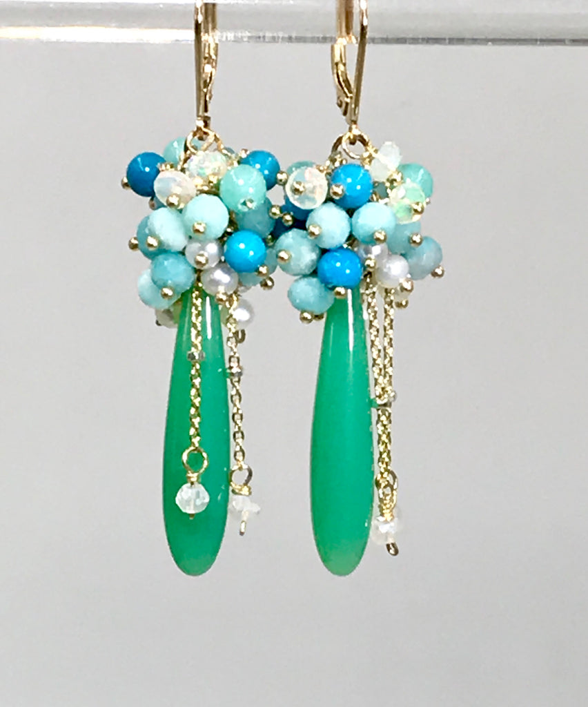 Green, Turquoise, Opal, Amazonite, Pearl Cluster Earrings Gold - doolittlejewelry