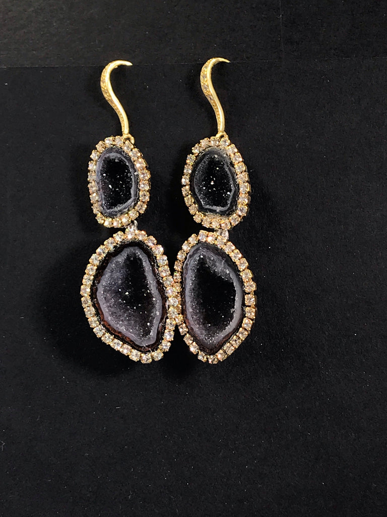 RESERVED for Sarah - Black Tabasco Geode Earrings Double Dangle - doolittlejewelry