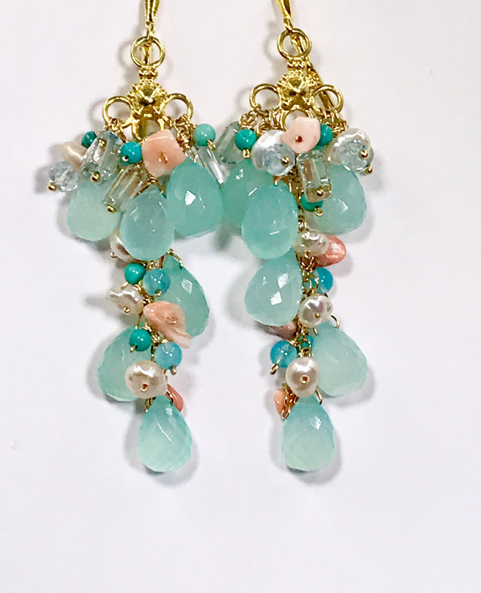 Coral and Aqua Blue Long Gem Dangle Earrings - doolittlejewelry