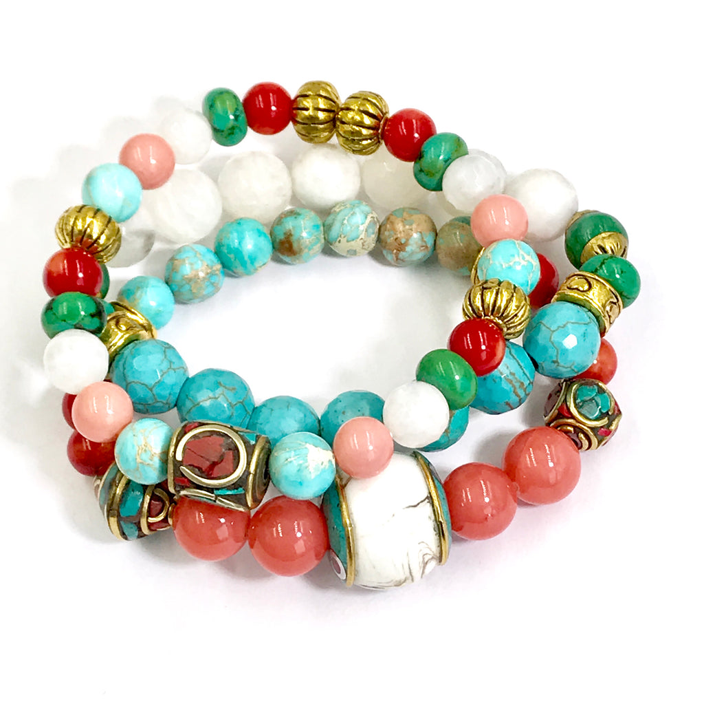 Colorful Beaded Stretch Bracelets Stack Set of 3 Tibetan Beads - doolittlejewelry
