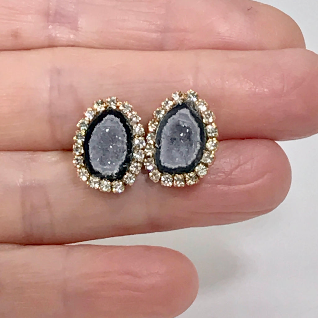 Tabasco Geode Stud Earrings Black & Lavender Grey Druzy Crystals - doolittlejewelry