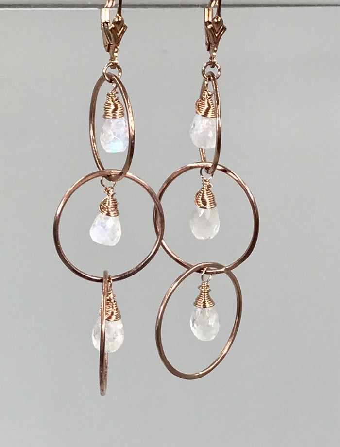 Moonstone Rose Gold Triple Hoop Earrings - doolittlejewelry