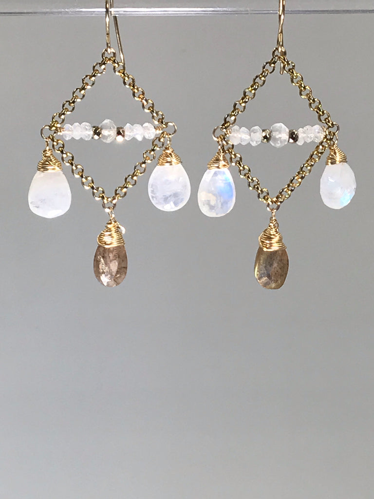 Rainbow Moonstone Chandelier Earrings Gold Labradorite - doolittlejewelry