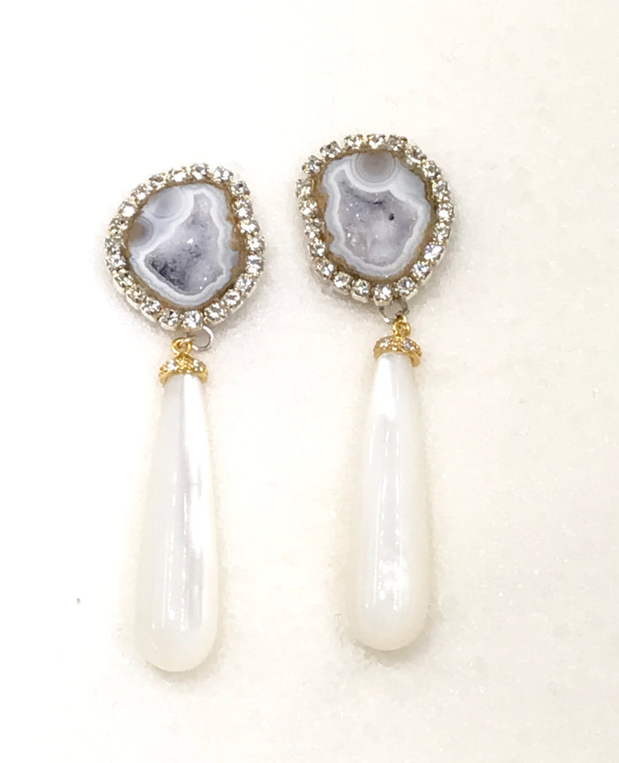 Tabasco Geode Post Earrings with White Mother of Pearl Drops - doolittlejewelry