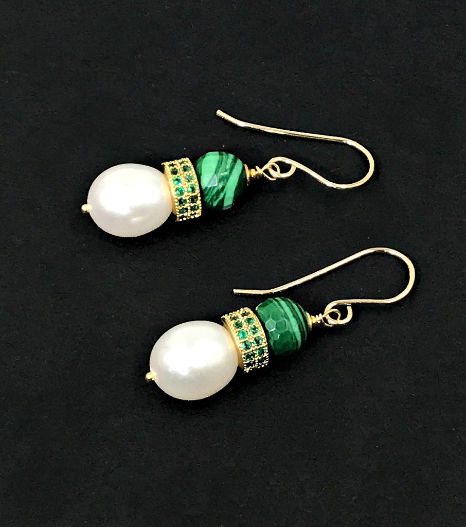 Baroque Pearl Earrings with Malachite and Pave CZ - doolittlejewelry