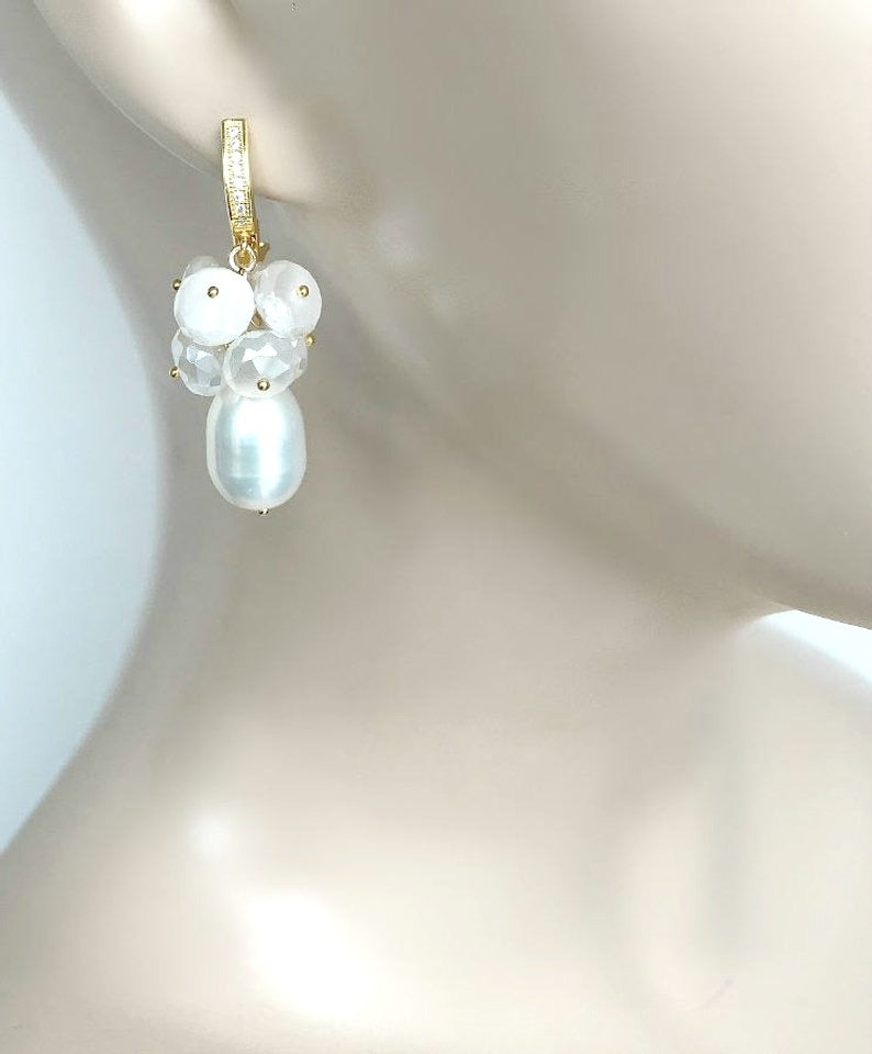 Baroque Pearl and Mystic Moonstone Gemstone Earrings - doolittlejewelry