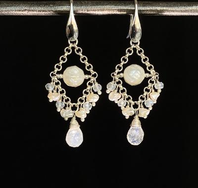 Sterling Silver Rainbow Moonstone Gemstone Bridal Chandelier Earrings - doolittlejewelry