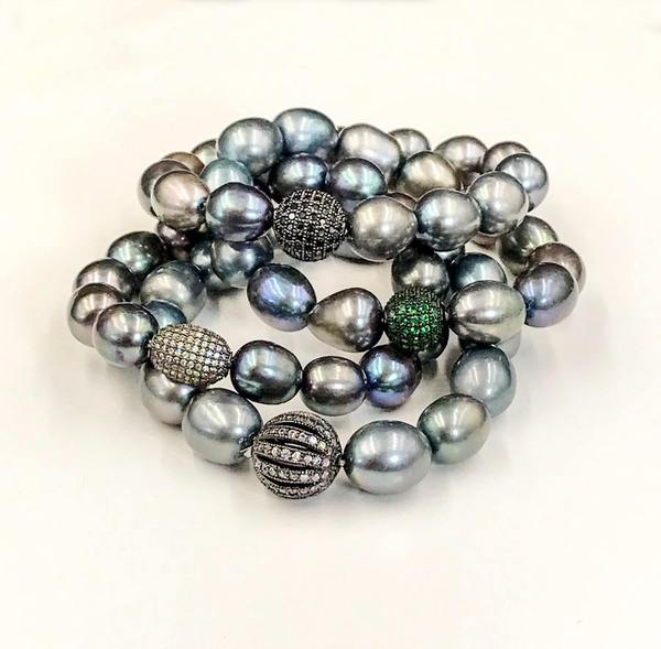 Grey Black Peacock Pearl Stretch Bracelet Filigree Pave CZ - doolittlejewelry