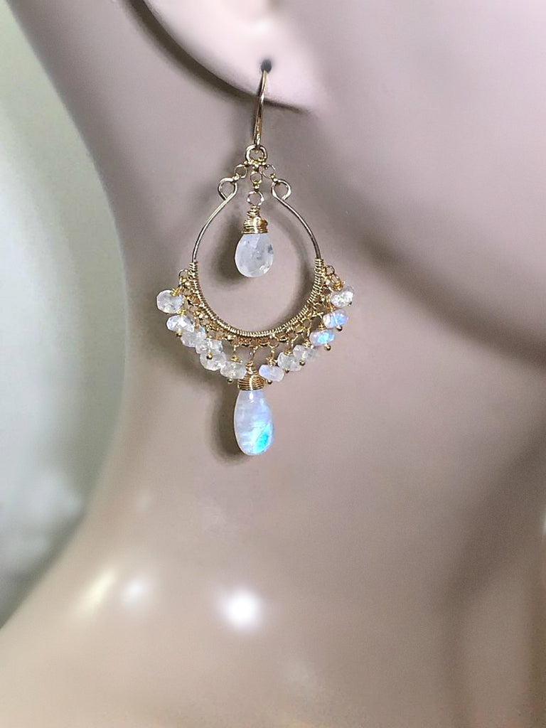 Rainbow Moonstone Gold Hoop Chandelier Earrings - doolittlejewelry