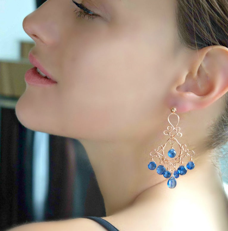 Luxury Gemstone Chandelier Rose Gold Earrings Kyanite - doolittlejewelry