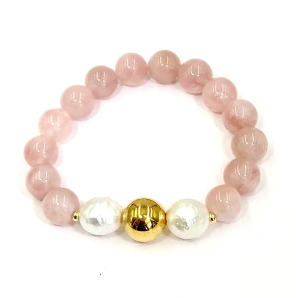 Pink Rose Quartz and Pearl Gold Beaded Stretch Bracelet - doolittlejewelry
