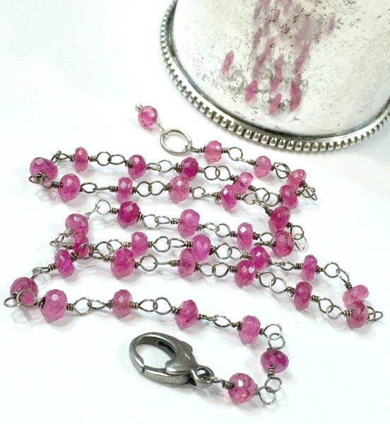 Pink Sapphire Necklace Wire Wrap Rosary Choker Pink Red Gemstone - doolittlejewelry