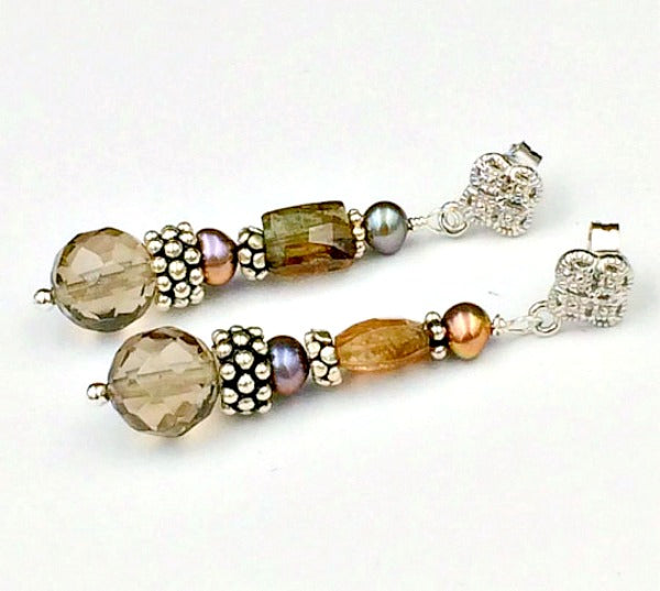 Smokey Quartz and Andalusite Brown Earrings with Sterling Silver Post - doolittlejewelry