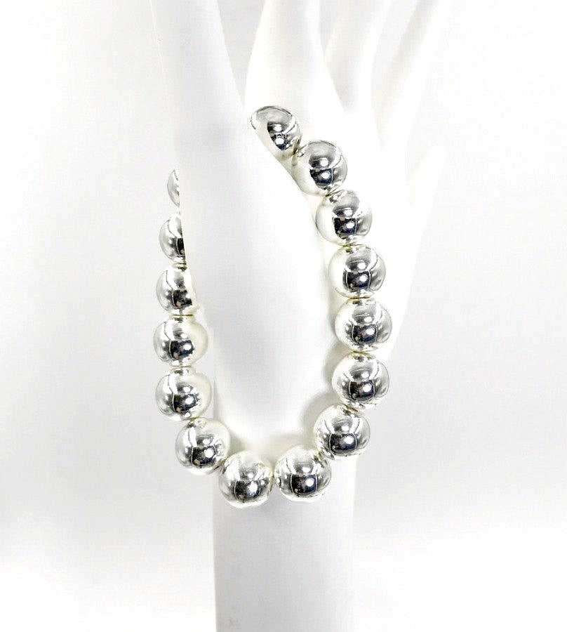 Silver Stack and Hematite Stretchy Bracelet - doolittlejewelry