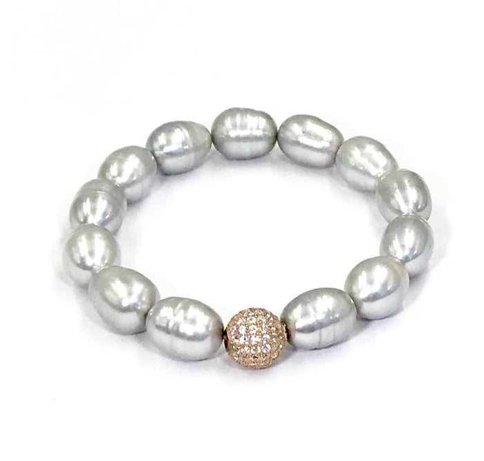 Silver Grey Pearl and Rose Gold Pave CZ Stretch Stack Bracelet - doolittlejewelry