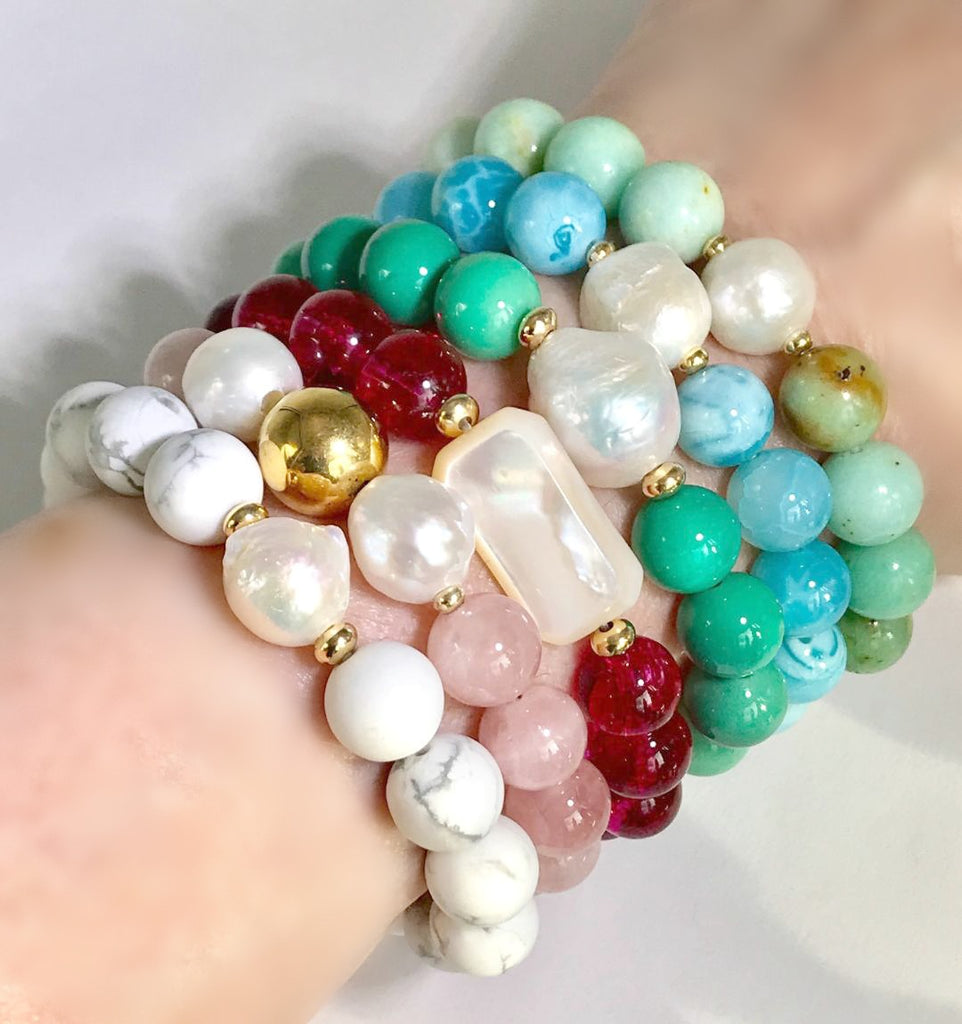 Turquoise Pearl Stack Stretch Bracelet - doolittlejewelry