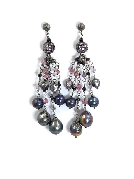 Pink Spinel Pearl Tassel Earrings - doolittlejewelry