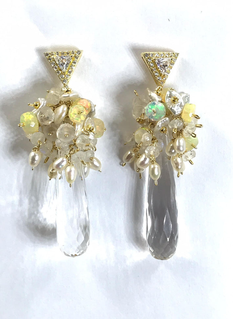 Crystal Quartz Opal and Moonstone Cluster Earrings Gold Post - doolittlejewelry